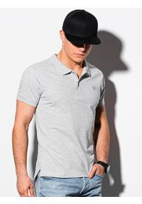 Ombre Clothing - Koszulka męska polo klasyczna bawełniana S1374 - szary - XXL. Typ kołnierza: polo. Kolor: szary. Materiał: bawełna. Wzór: haft. Styl: klasyczny