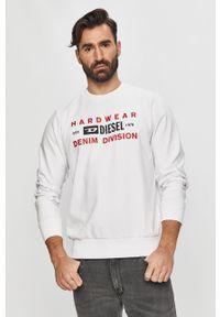 Biała bluza nierozpinana Diesel casualowa, bez kaptura, na co dzień, z nadrukiem