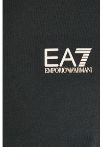 Niebieski t-shirt EA7 Emporio Armani na co dzień, z okrągłym kołnierzem, casualowy