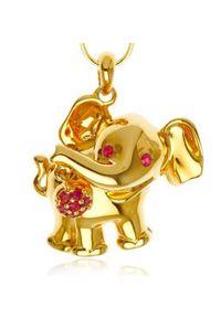 Braccatta - KARI Srebrny naszyjnik wisiorek słoń rubiny pozłacany. Materiał: srebrne, pozłacane. Kolor: srebrny. Kamień szlachetny: rubin