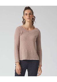 Manila Grace - MANILA GRACE - Różowy sweter z prążkowanym motywem. Kolor: różowy, wielokolorowy, fioletowy. Materiał: prążkowany