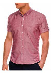 Czerwona koszula Ombre Clothing z krótkim rękawem, button down