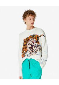 Kenzo - KENZO - Beżowy sweter z tygrysem. Kolor: beżowy. Materiał: materiał. Wzór: haft, kolorowy