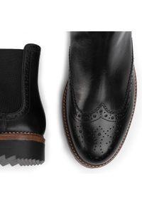 Czarne buty zimowe Gino Rossi eleganckie, z cholewką