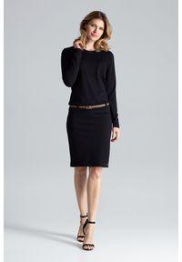Czarna sukienka Figl z długim rękawem, prosta