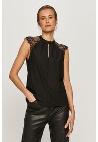 Czarna bluzka Vero Moda w koronkowe wzory, na co dzień, ze stójką