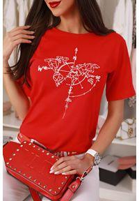 Czerwony top IVET w kolorowe wzory