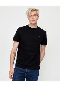 Ralph Lauren - RALPH LAUREN - Czarny t-shirt Regular Fit. Okazja: na co dzień. Typ kołnierza: polo. Kolor: czarny. Materiał: bawełna. Wzór: haft. Styl: casual, klasyczny