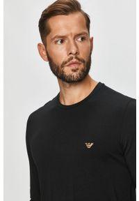 Czarna koszulka z długim rękawem Emporio Armani casualowa, na co dzień