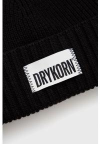 Drykorn - Czapka wełniana Tyrell. Kolor: czarny. Materiał: wełna