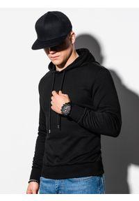 Ombre Clothing - Bluza męska z kapturem z nadrukiem B1216 - czarna - XXL. Typ kołnierza: kaptur. Kolor: czarny. Materiał: bawełna, poliester. Wzór: nadruk