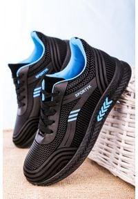 Casu - czarne buty sportowe sznurowane casu 20y01/b. Kolor: czarny, niebieski, wielokolorowy