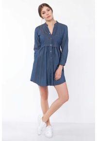 Lanti - Jeansowa Sukienka Koszulowa. Materiał: jeans. Typ sukienki: koszulowe
