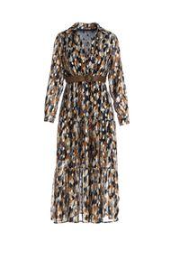 Born2be - Granatowa Sukienka Windom. Kolor: niebieski. Wzór: nadruk. Typ sukienki: kopertowe