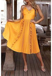 Żółta długa sukienka IVET na lato, z aplikacjami, na ramiączkach, z falbankami