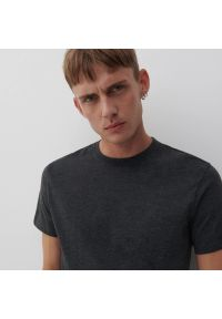 Reserved - Bawełniany t-shirt basic - Szary. Kolor: szary. Materiał: bawełna