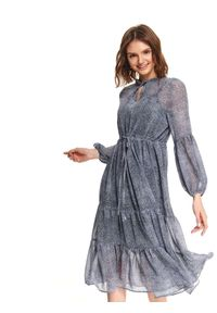 Niebieska sukienka TOP SECRET na co dzień, elegancka, midi, ze stójką