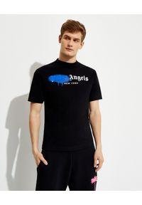 PALM ANGELS - Czarny t-shirt z nadrukiem logo. Kolor: czarny. Materiał: bawełna. Wzór: nadruk. Styl: klasyczny