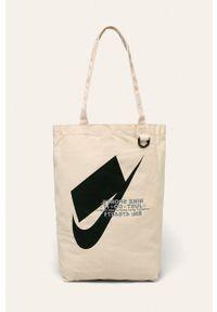 Kremowa shopperka Nike Sportswear na ramię, z nadrukiem