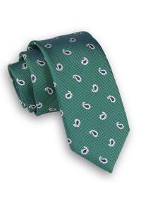 Alties - Zielony Elegancki Krawat Męski -ALTIES- 6 cm, w Drobny Wzór Paisley, Łezki. Kolor: zielony. Materiał: tkanina. Wzór: paisley. Styl: elegancki