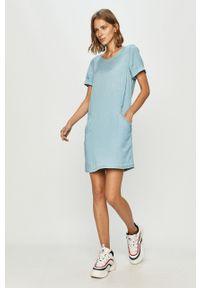 Niebieska sukienka Vila mini, na co dzień, prosta