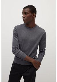 Szary sweter Mango Man casualowy, długi, z długim rękawem, na co dzień