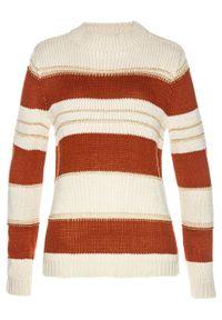 Biały sweter bonprix w paski