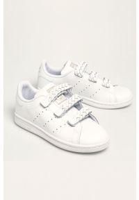 Białe buty sportowe adidas Originals z cholewką, na rzepy, Adidas Stan Smith