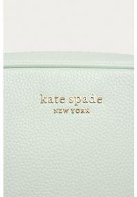 Kate Spade - Torebka skórzana. Kolor: turkusowy. Materiał: skórzane. Rodzaj torebki: na ramię