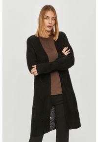 Czarny sweter rozpinany Jacqueline de Yong casualowy, długi, z długim rękawem