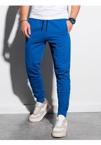 Ombre Clothing - Spodnie męskie dresowe joggery P952 - niebieskie - XXL. Kolor: niebieski. Materiał: dresówka