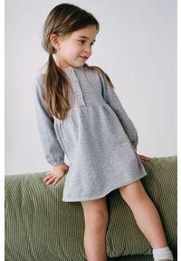 Szara sukienka Mango Kids gładkie, mini, rozkloszowana, z długim rękawem