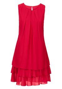 Czerwona sukienka bonprix bez rękawów, elegancka