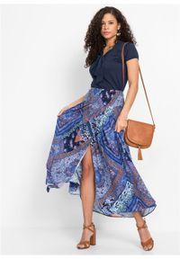 Spódnica kopertowa bonprix niebiesko-brązowy wzorzysty. Kolor: niebieski. Długość: długie #6