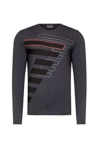 Szary t-shirt EA7 Emporio Armani z nadrukiem, długi, z okrągłym kołnierzem