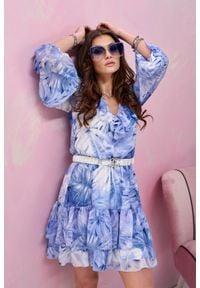 e-margeritka - Sukienka szyfonowa mini z falbanami w kwiaty - 36. Typ kołnierza: dekolt w serek. Materiał: szyfon. Wzór: kwiaty. Styl: elegancki. Długość: mini