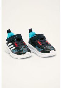 Niebieskie buty sportowe adidas Performance z okrągłym noskiem, z motywem z bajki, na rzepy, z cholewką