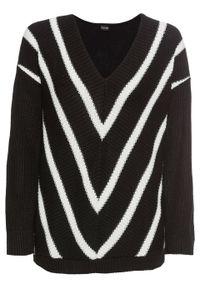 Sweter bonprix czarno-biel wełny w paski. Kolor: czarny. Materiał: wełna. Wzór: paski