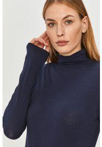 Niebieska bluzka z długim rękawem GAP na co dzień, casualowa, z golfem