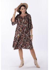 e-margeritka - Sukienka trapezowa midi boho we wzory - czarny, U. Kolor: czarny. Materiał: wiskoza, materiał. Wzór: aplikacja. Typ sukienki: trapezowe. Styl: boho. Długość: midi