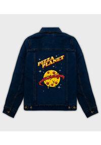 MegaKoszulki - Kurtka jeansowa damska Pizza planet. Materiał: jeans. Wzór: nadruk. Sezon: wiosna. Styl: klasyczny