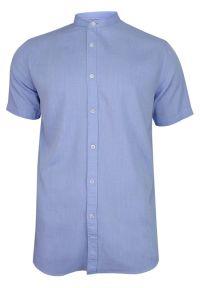 Niebieska koszula casual Brave Soul krótka, ze stójką, na co dzień