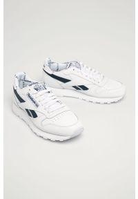 Białe sneakersy Reebok Classic na sznurówki, z okrągłym noskiem, z cholewką #5