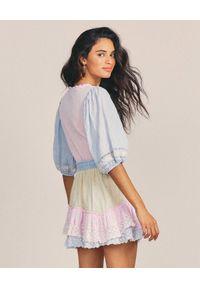 LOVE SHACK FANCY - Pastelowa sukienka Adley. Kolor: niebieski. Materiał: bawełna. Wzór: aplikacja, kropki, haft. Sezon: lato
