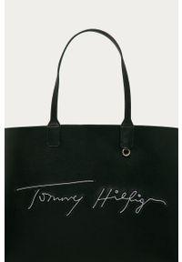 Czarna shopperka TOMMY HILFIGER z aplikacjami, z aplikacjami