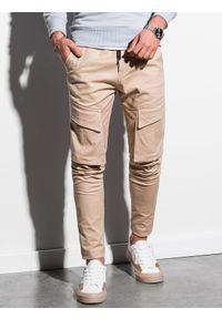 Ombre Clothing - Spodnie męskie joggery P999 - beżowe - XXL. Kolor: beżowy. Materiał: bawełna, elastan. Wzór: aplikacja