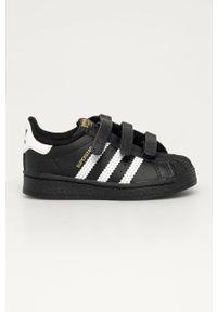 Czarne buty sportowe adidas Originals Adidas Superstar, na rzepy, z cholewką