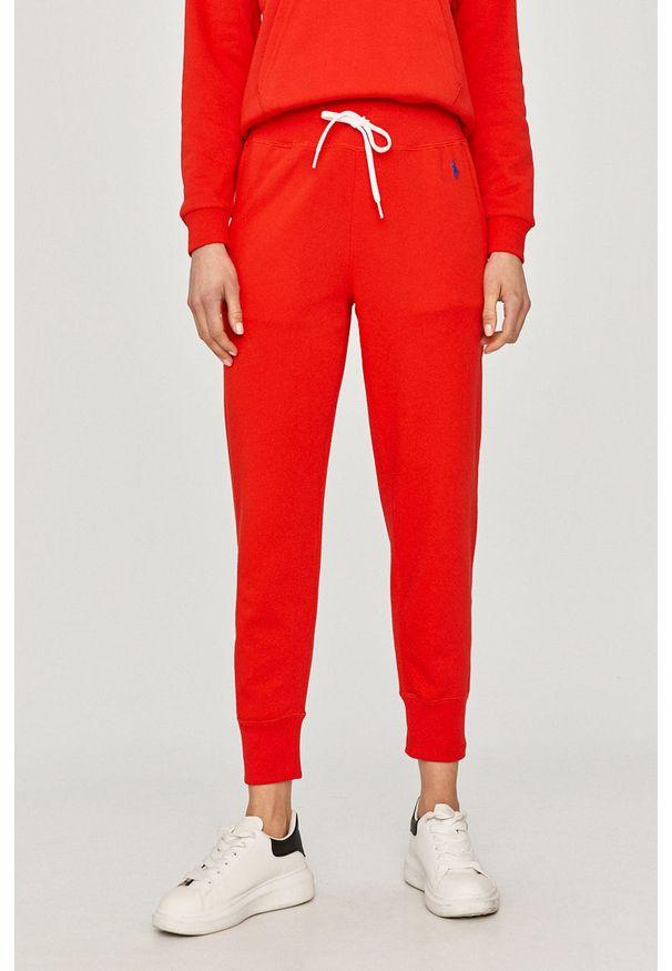 Czerwone spodnie dresowe Polo Ralph Lauren gładkie