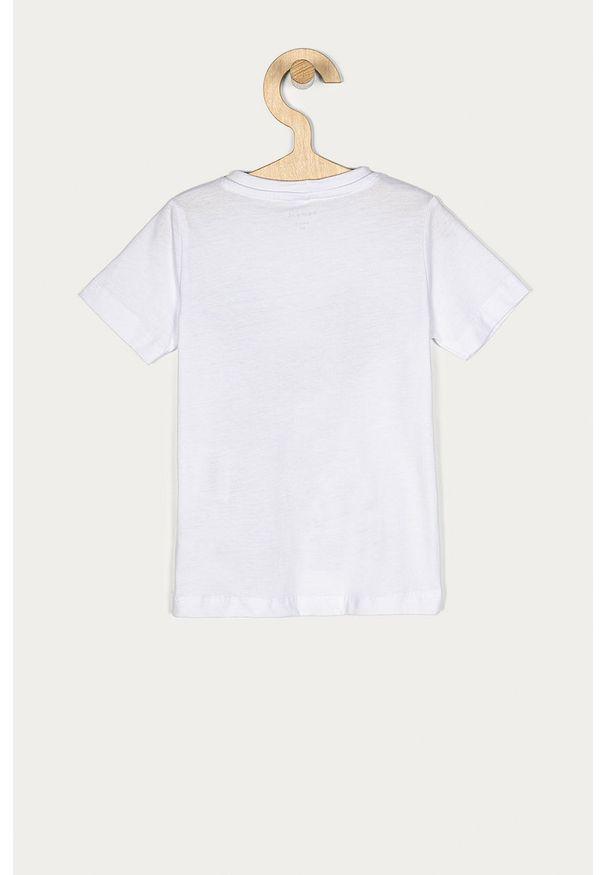 Biały t-shirt Name it z okrągłym kołnierzem, z nadrukiem