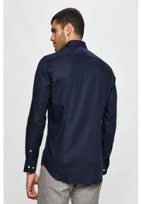 Niebieska koszula Tommy Hilfiger Tailored z włoskim kołnierzykiem, elegancka, z długim rękawem
